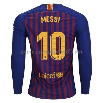 Barcelona Fotballdrakter 2018-19 Lionel Messi 10 Hjemmedrakt Langermet